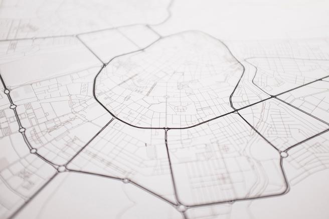 Badajoz mapa diseño estilo nordico blanco y negro lineas simples vias principales laminas decorativa detalle