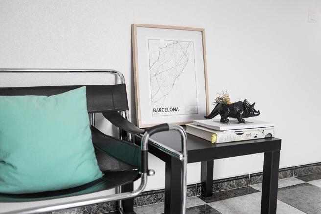 barcelona mapa diseño estilo nordico blanco y negro lineas simples vias principales laminas decorativa pipolart shop pipol-art