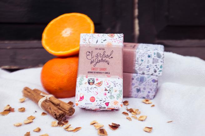 jabon cosmetica natural no testado animales vegano  pipolart sweet sandy con canela y naranja