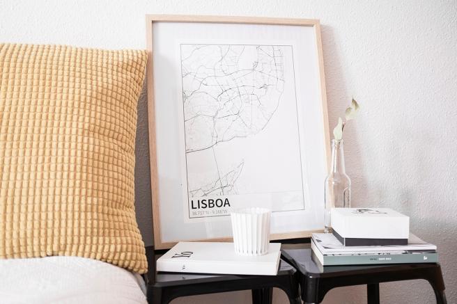 Lisboa mapa diseño estilo nordico blanco y negro lineas simples vias principales laminas decorativa pipolart shop pipol-art