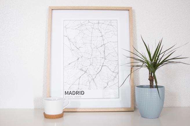 Madrid mapa diseño estilo nordico blanco y negro lineas simples vias principales laminas decorativa deco nordic