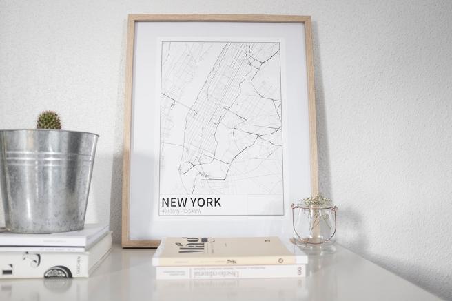 nueva york new york mapa diseño estilo nordico blanco y negro lineas simples vias principales laminas decorativa pipolart shop pipol-art
