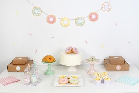 decoracion fiesta infantil descargables papeleria donut tematica color pastel guirnalda