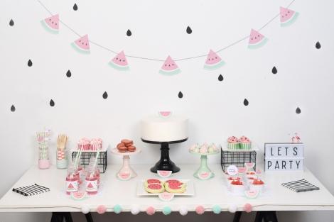 decoracion fiesta infantil descargables papeleria tematica pipolart sandia watermelon party