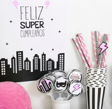 decoracion fiesta infantil descargables papeleria tematica pipolart supergirl pink superheroe