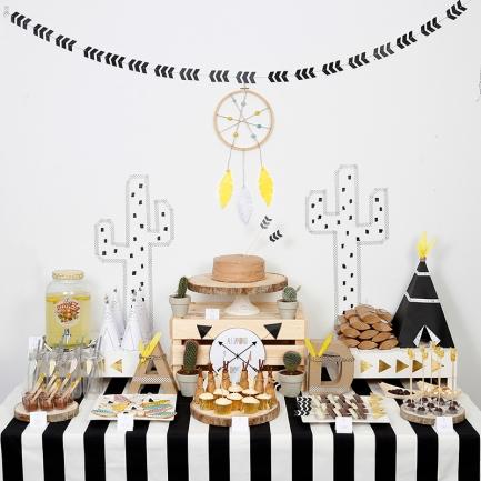 decoracion fiesta tematica infantil descargables papeleria little indian negro blanco amarillo pipolart lamina party pipolart
