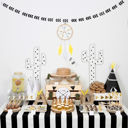 decoracion fiesta tematica infantil descargables papeleria little indian negro blanco amarillo pipolart lamina party pipolart