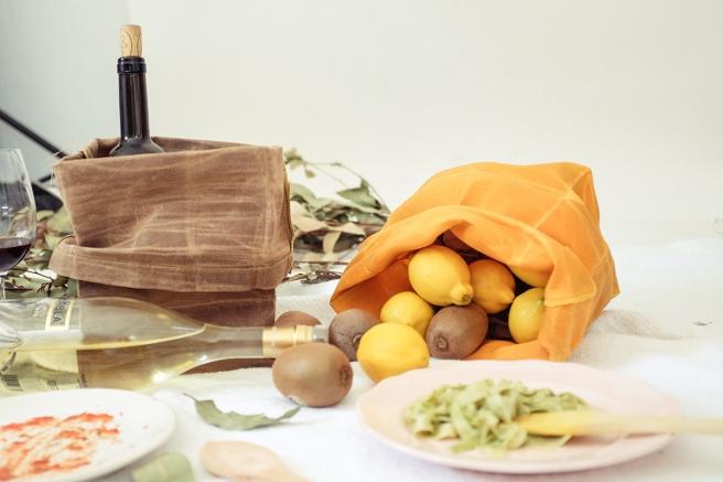 iconic paperbag waxed canvas bolsa papel americana almuerzo lunch iconica tela encerada impermeable cera pipolart amarillo mostaza picnic frutero