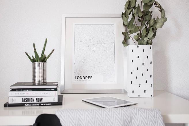 Londres mapa diseño estilo nordico blanco y negro lineas simples vias principales laminas decorativa