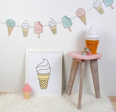 print descargable a3 para lamina bolso tela o camiseta pipolart ilustracion helado animado sonriente icecream cucurucho nata
