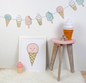 print descargable a3 para lamina bolso tela o camiseta pipolart ilustracion helado animado sonriente icecream rosa pastel cuarzo