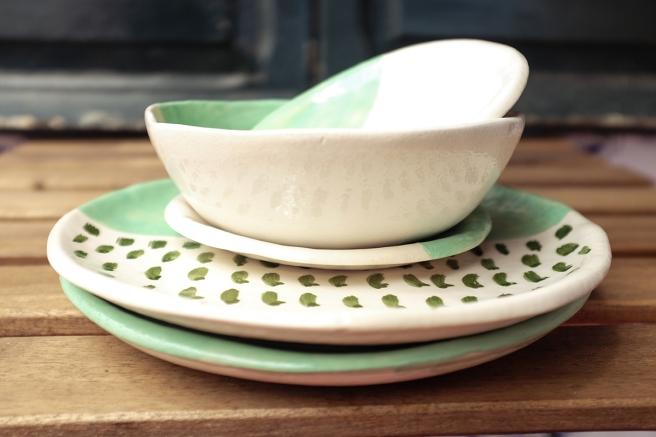 vajilla boda celebraciones ceramica hecha a mano artesanal color mint menta blanco pipolart 6 piezas