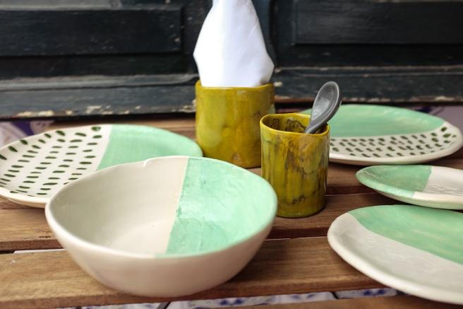 vajilla boda celebraciones ceramica hecha a mano artesanal color mint menta blanco pipolart bol cuenco