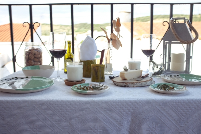 vajilla boda celebraciones ceramica hecha a mano artesanal color mint menta blanco pipolart cena atardecer