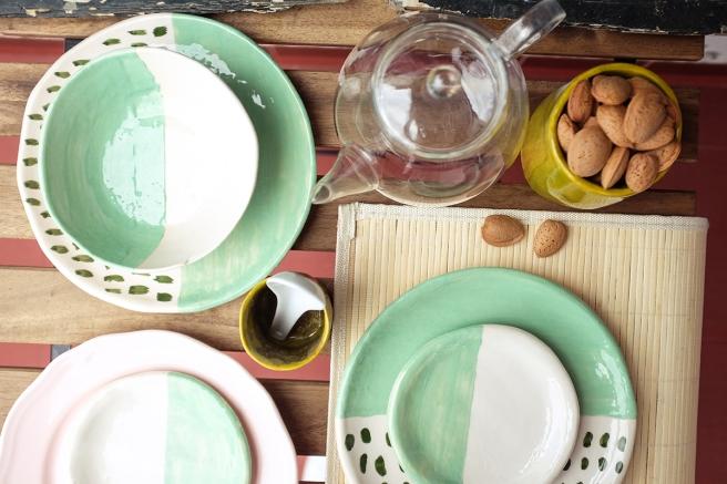 vajilla boda celebraciones ceramica hecha a mano artesanal color mint menta blanco pipolart desayuno especial