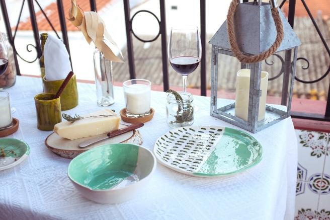 vajilla boda celebraciones ceramica hecha a mano artesanal color mint menta blanco pipolart jarron  vaso cena en el balcon