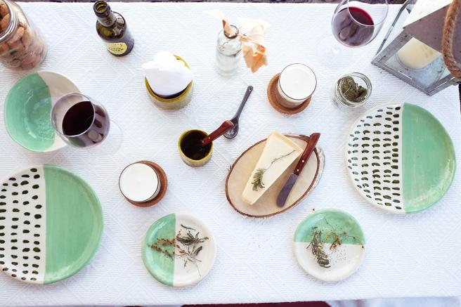 vajilla boda celebraciones ceramica hecha a mano artesanal color mint menta blanco pipolart jarron vaso cena especial