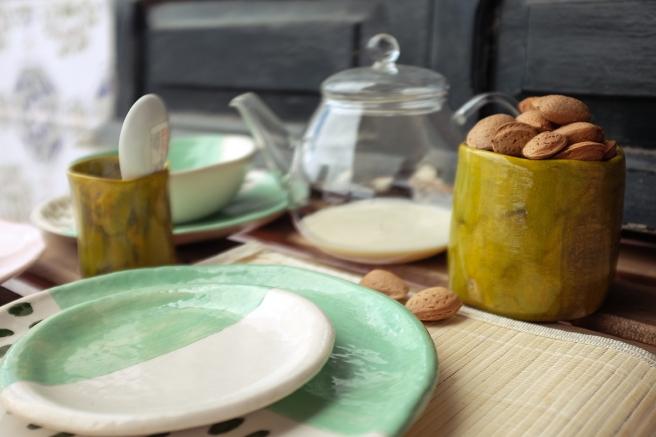 vajilla boda celebraciones ceramica hecha a mano artesanal color mint menta blanco pipolart jarron vaso