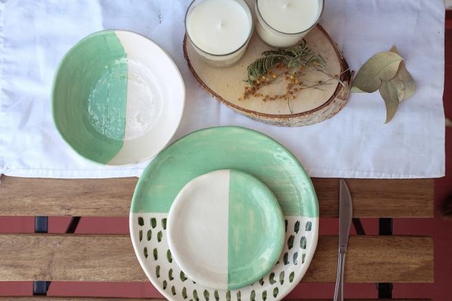 vajilla boda celebraciones ceramica hecha a mano artesanal color mint menta blanco pipolart madera velas naturales