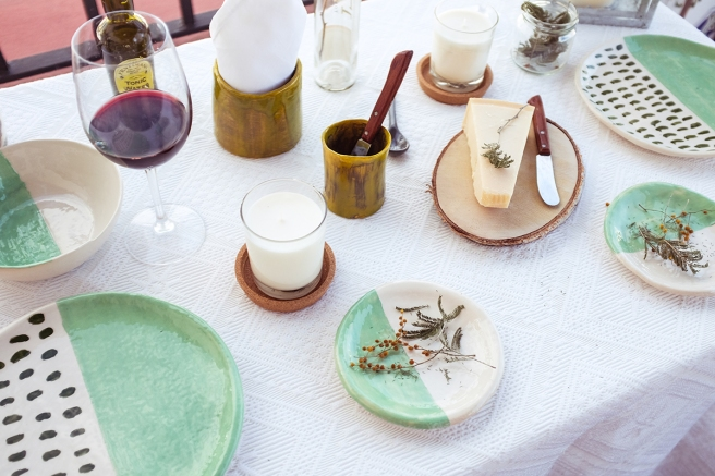 vajilla boda celebraciones ceramica hecha a mano artesanal color mint menta blanco pipolart manteleria lino