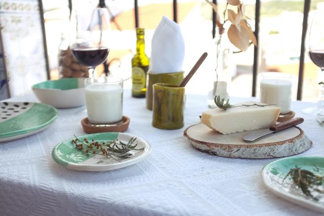 vajilla boda celebraciones ceramica hecha a mano artesanal color mint menta blanco pipolart servilleta lino