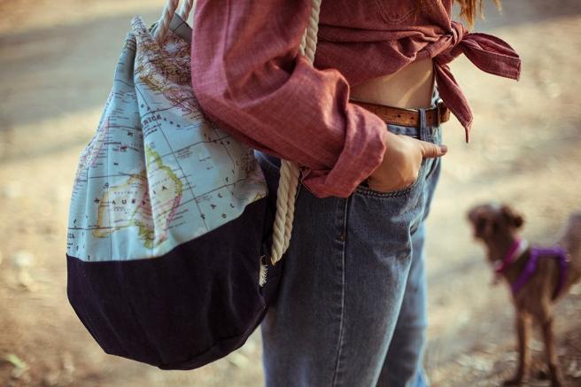 mochila petate gran capacidad tela hecho a mano cosido madrid pipolart pipol art vaquero mapamundi
