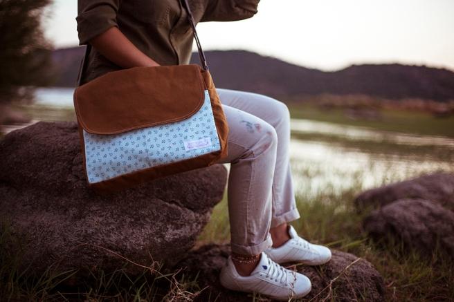 bolso loneta tela estampada bolsillos interior exterior cremallera pipolart pipol art para ella