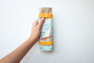 estuche enrollable tela cosido a mano hecho a mano manta maquillaje transportar brochas neceser pipolart pipol art estampado oceano pacifico