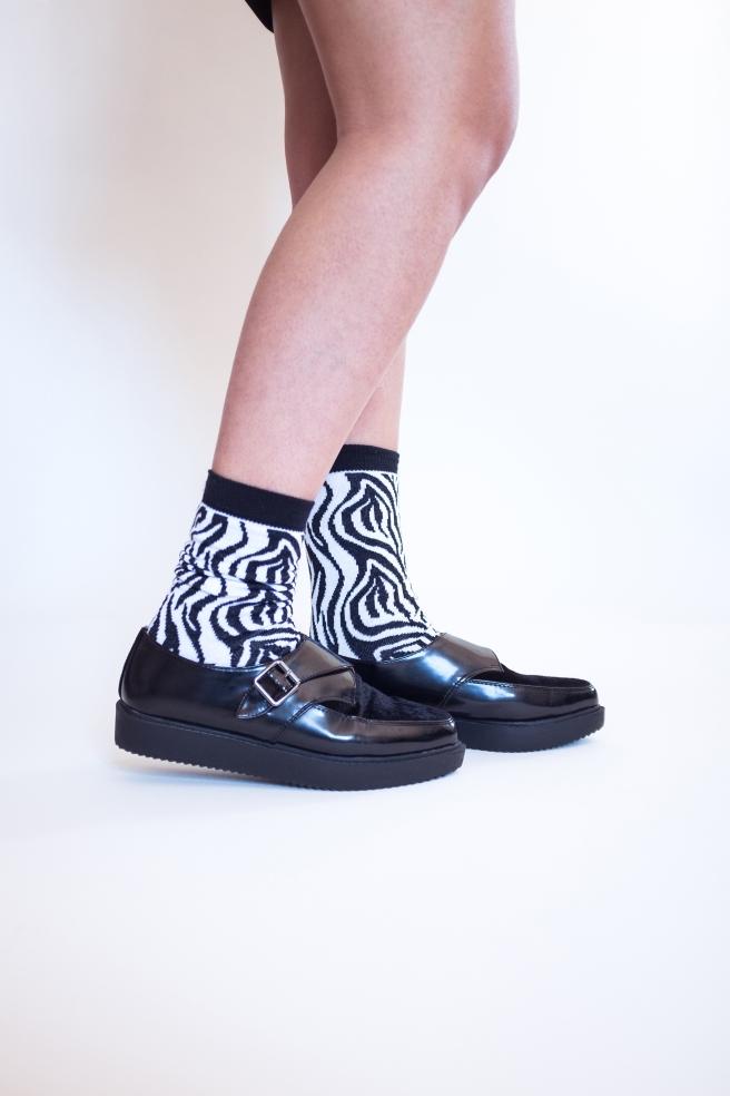 calcetines estampados print socks cebra black white hechos en españa pipolart pipol art.jpg
