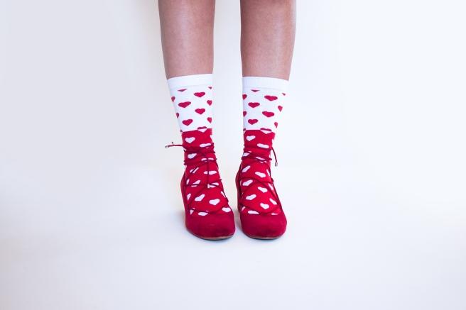 corazones rojos y blancos calcetines estampados print socks hechos en españa pipolart pipol art.jpg