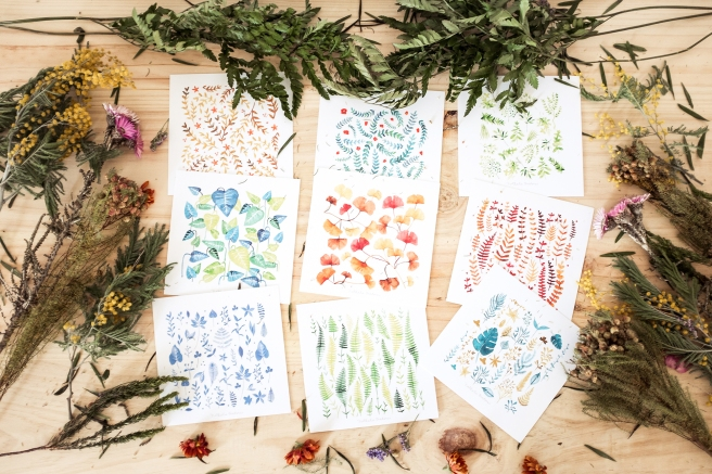pack postales acuarela  y sobres kraft nathalie ouederni flores.jpg