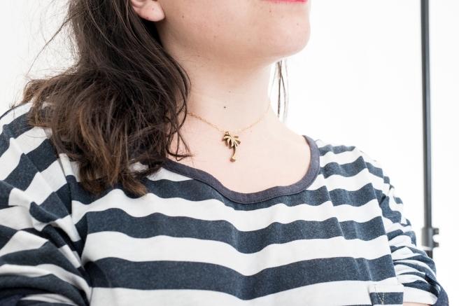 collar gargantilla colgante madera palmera cadena bañada oro pipolart