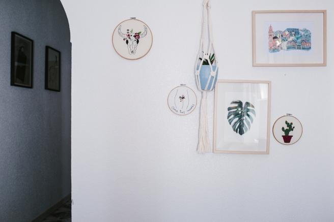 bastidores bordados a mano decorar pared pipolart pipol art flores cactus cabeza de ganado