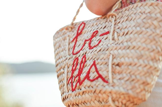 bolso cesto cesta capazo canasto palma tamaño pequeño asas largas bordado a mano