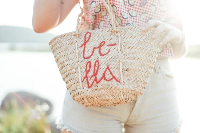 bolso cesto cesta capazo canasto palma tamaño pequeño asas largas