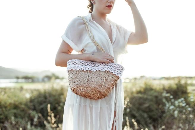 capazo canastos cesto cesta de palma tamaño pequeño asa larga puntilla bolillos pipolart cosido a mano artesania