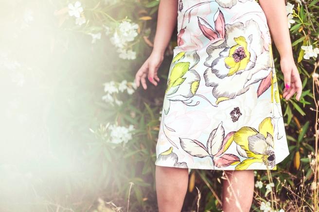 falda de vuelo tipo A acampanada estampado flores pipol art pipolart