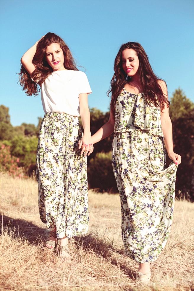 faldas largas flores hecho a mano pipolart pipol art shop conjunto falda y top