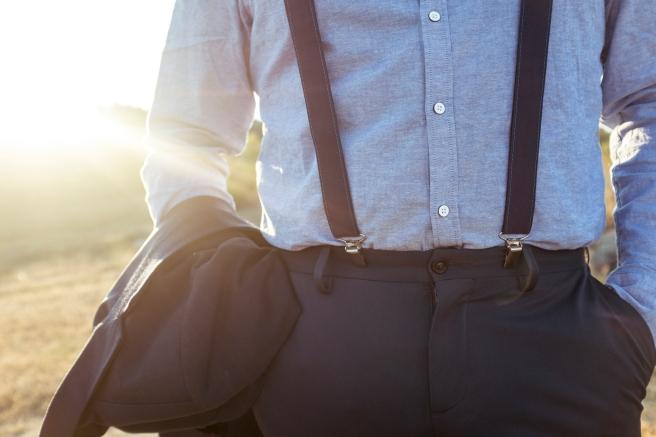 pajarita gris estampado hecha a mano conjunto tirantes tela goma cuero pipolart