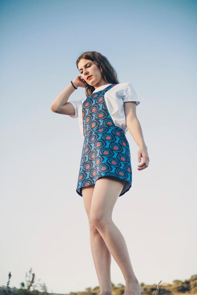 peto falda estampado retro pipolart pipol art detalle