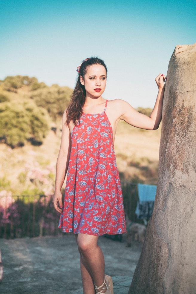 vestido estampado marino
