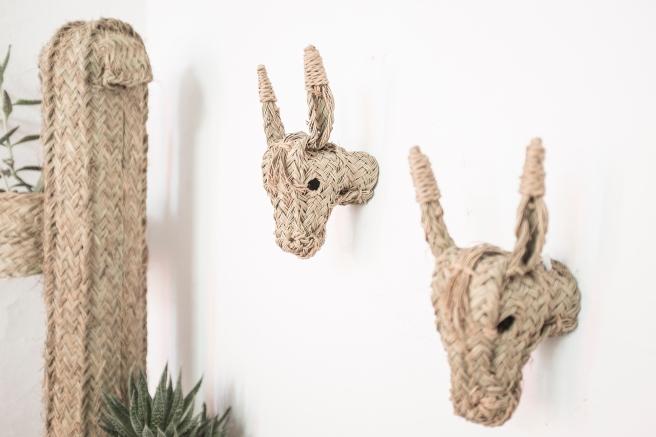 cabezas de burrito trofeo animales burro de paja mimbre decorativo hecho a mano