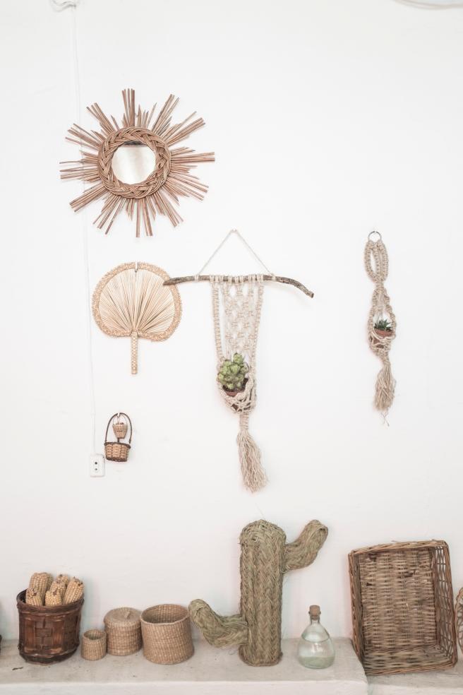 cactus natural mimbre palma hecho a mano artesania española pipol art