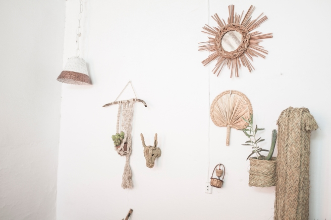 espejo retro forma de sol fibra natural artesanía española pipolart pipol art