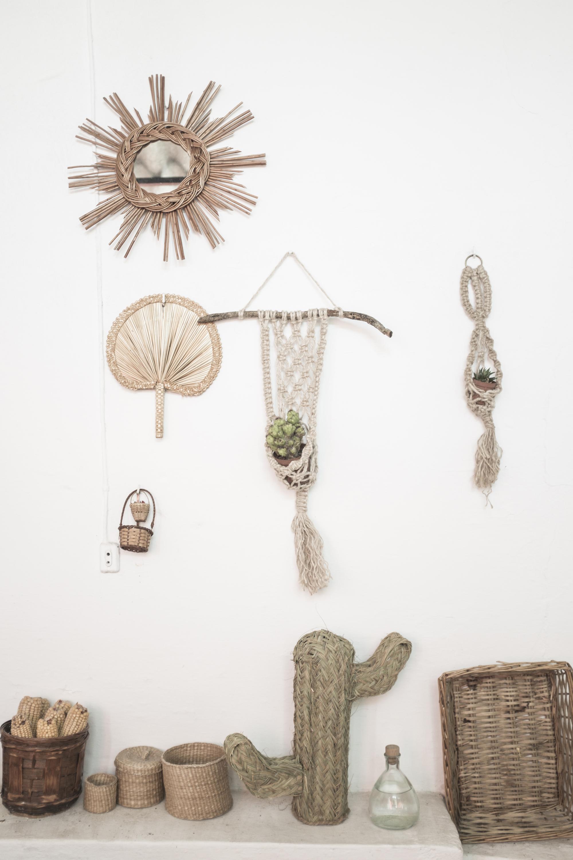 espejo retro mimbre cactus palma macrame pipolart